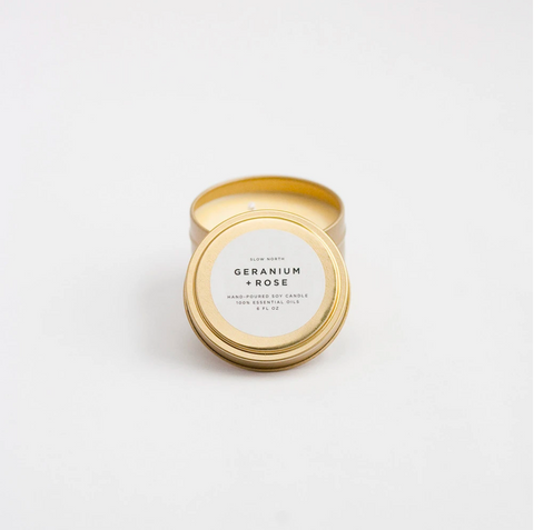 Geranium + Rose Candle - Travel Tin