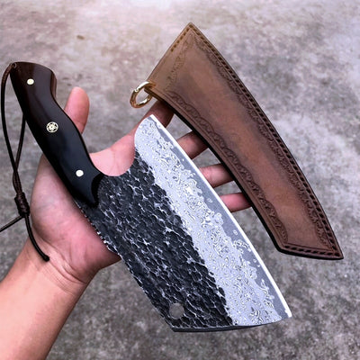 damascus serbian knife with shealth
