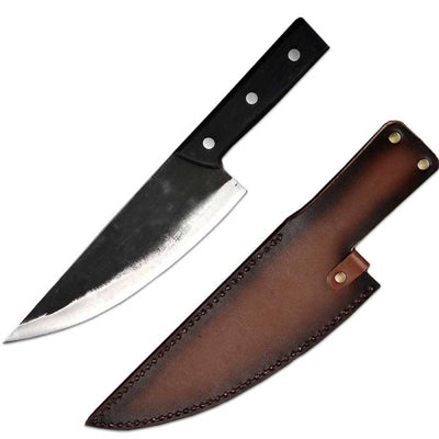 multipurpose serbian chef knife with leather shealth