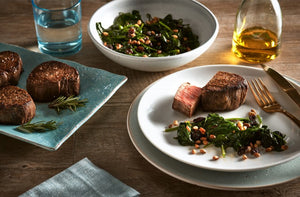REVERSE-SEARED WAGYU TENDERLOIN, WITH SPINACH, PINE NUTS & RAISINS.