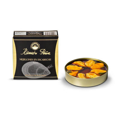 Mussels in Escabeche 8-10ea/can (Black line), 120Gr - The Gourmet Market