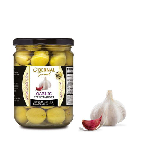 "Olives Gourmet stuffed with ""Garlic"", 225Gr Drained - The Gourmet Market"