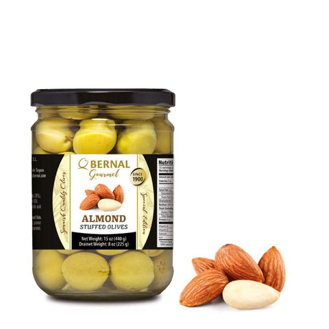 "Olives Gourmet stuffed with ""Almonds"", 225Gr Drained - The Gourmet Market"