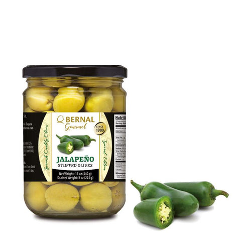 "Olives Gourmet stuffed with ""Jalapeno Chilli"", 225Gr Drained - The Gourmet Market"
