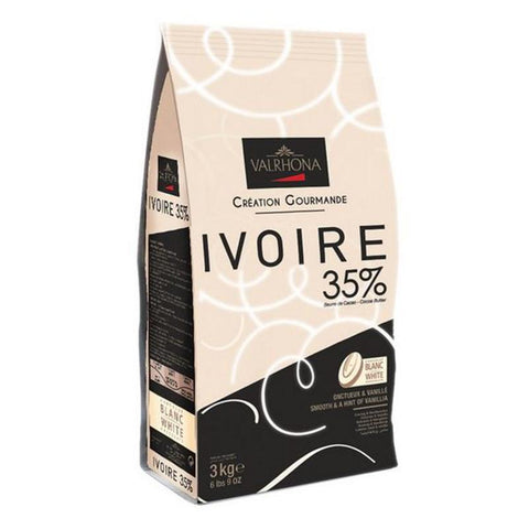 Chocolate White coverture callets Ivoire 36%, 3Kg - The Gourmet Market