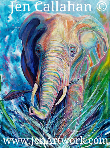 """Splash"" African Elephant"