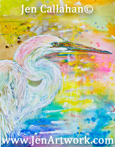 """White Egret Sunrise"""