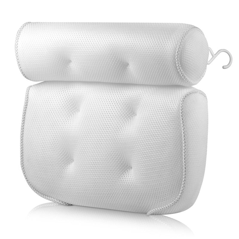 Bathroom Pillow Cushion With Suction Cups Neck And Back Support Headrest