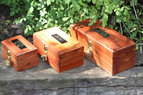 cedar lock box pet cremation urn with custom engraved nameplate