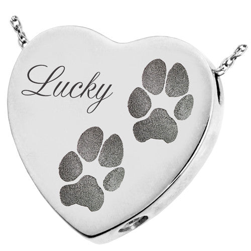 Peaceful Heart Paw Print Cremation Jewelry Pendant