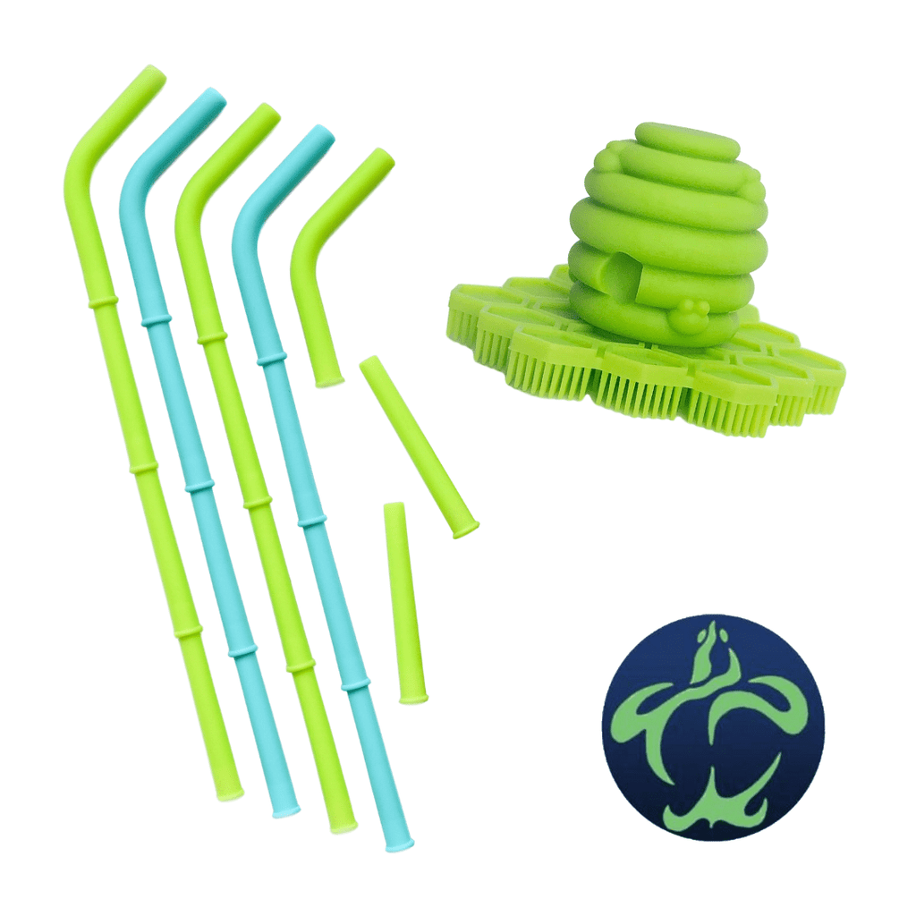 Big Bee, Little Bee Build-A-Straw Build-A-Straw Reusable Silicone Straws: Sea Turtle Collection