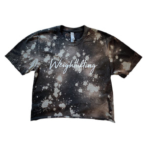 Weightlifting splashed Crop Top / Black & Silver