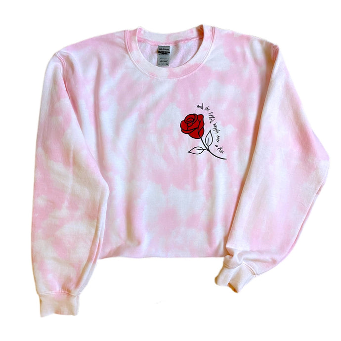 Rose Crop Sweatshirt - And she lifted happily ever after