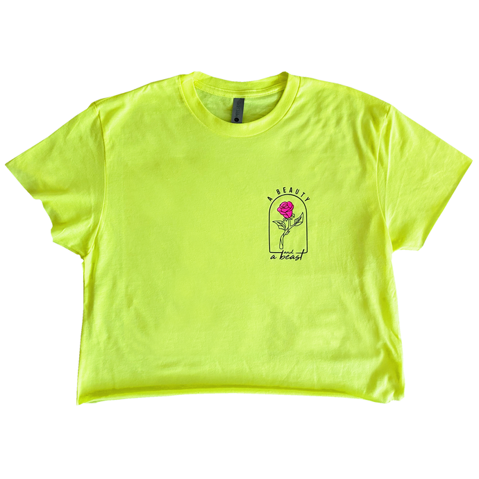 A Beauty and a Beast - Cropped Tee - Neon Yellow