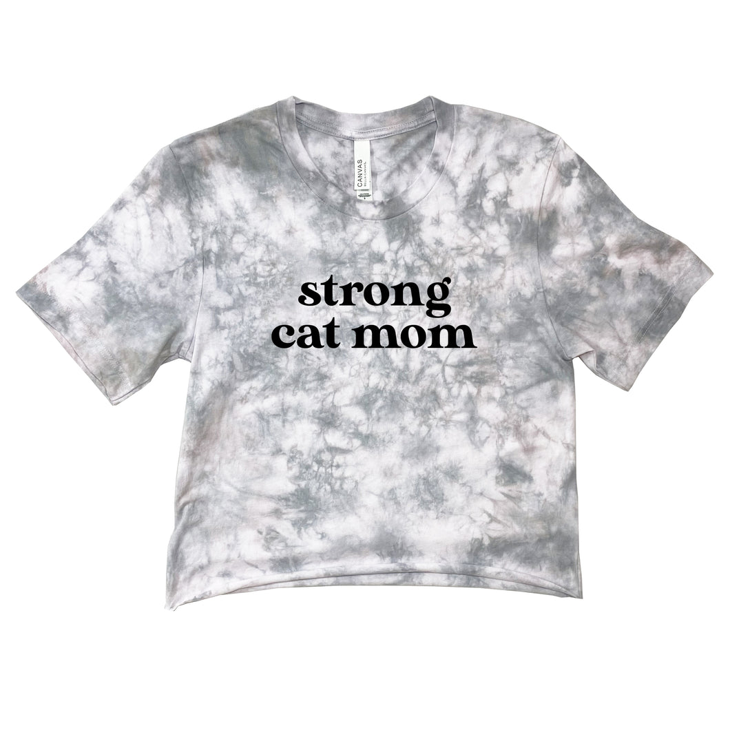 Tie Dye Strong Cat Mom Crop Top Gray