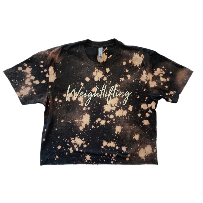 Weightlifting Splashed Crop Top / Black & Gold