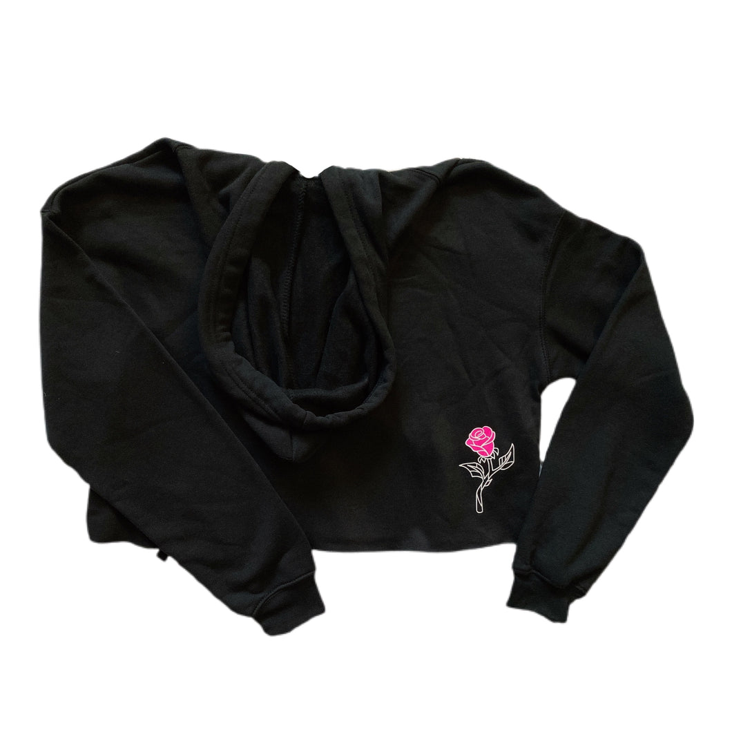 A Beauty and a Beast Crop Hoodie - Black/Pink