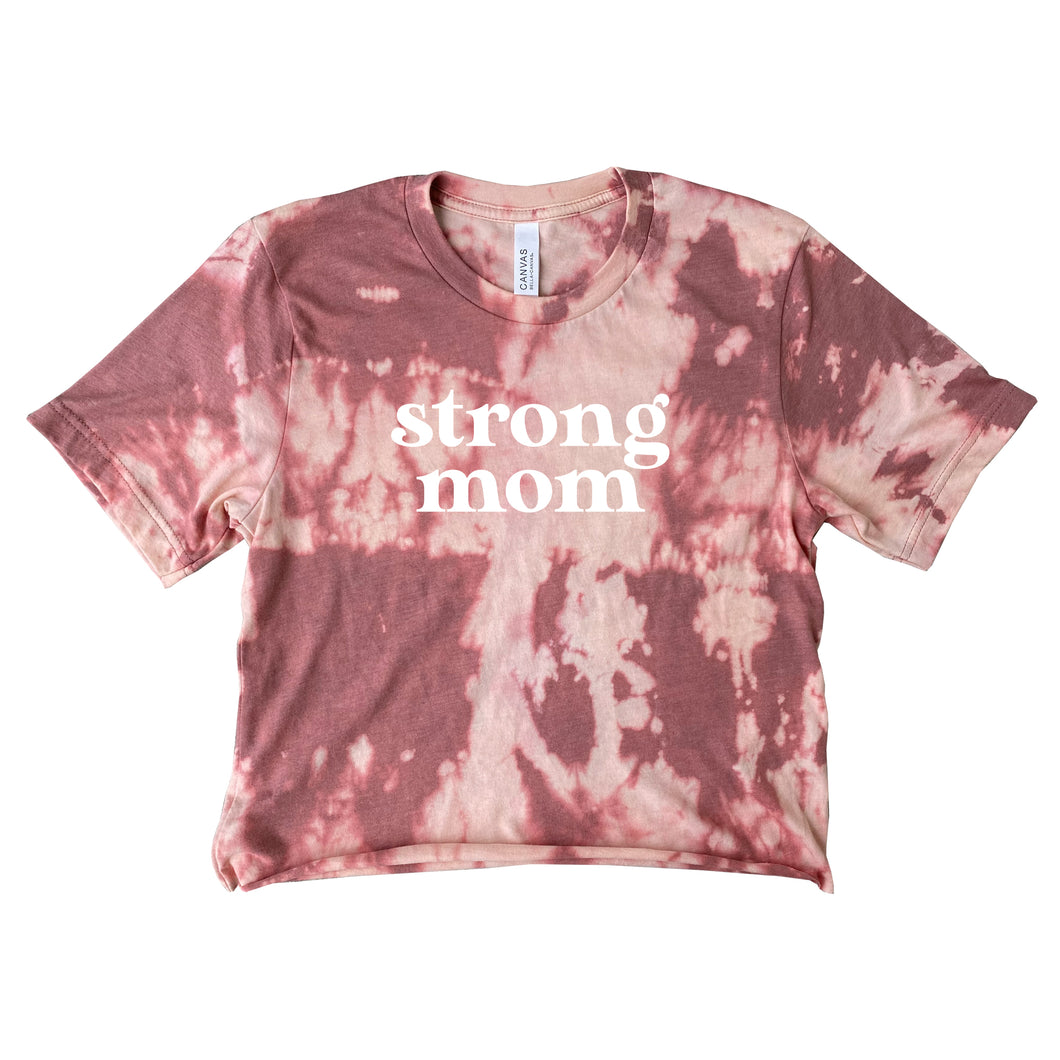 Mauve Tie Dye Strong Mom Crop