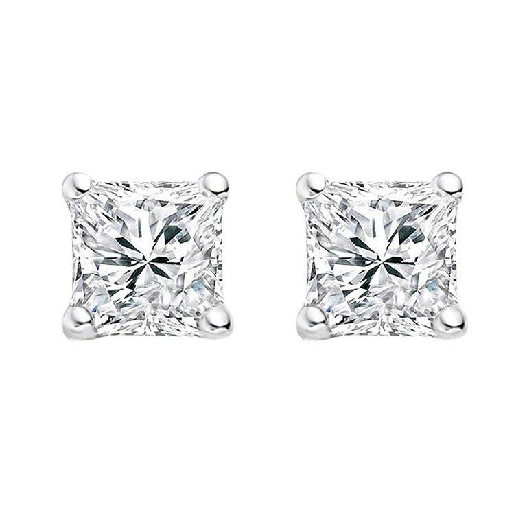 5mm Princess Cut CZ Stud Earrings