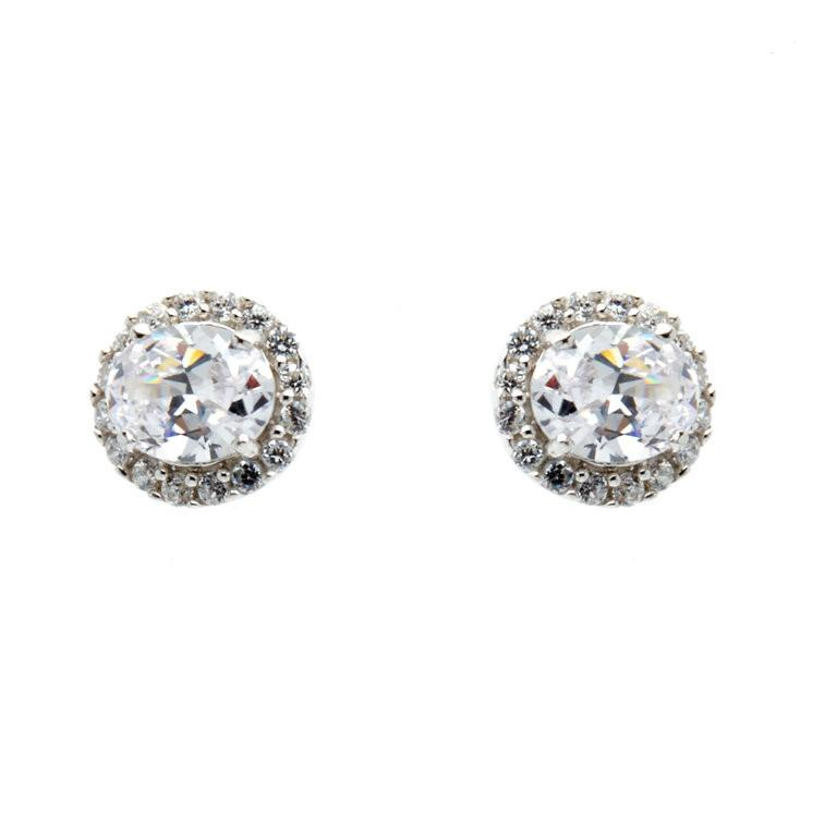 Silver Rhodium Plate CZ Oval Stud Earrings