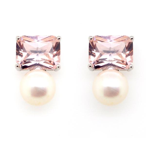 Rectangle Morganite & Pearl Earrings