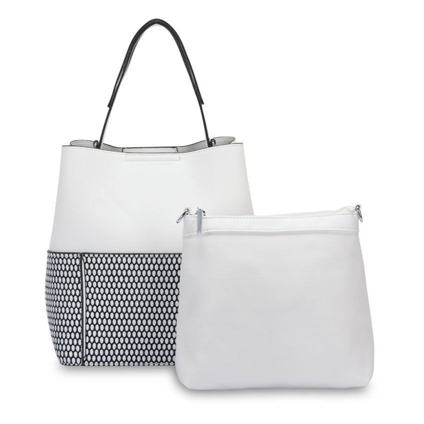 Indie White Bucket Bag