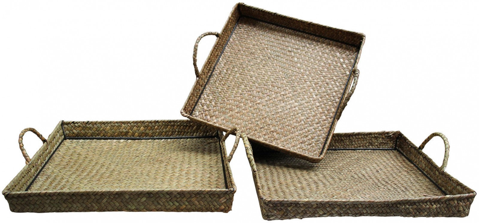 Woven Tray Set of 3 - Natural Textured Rattan