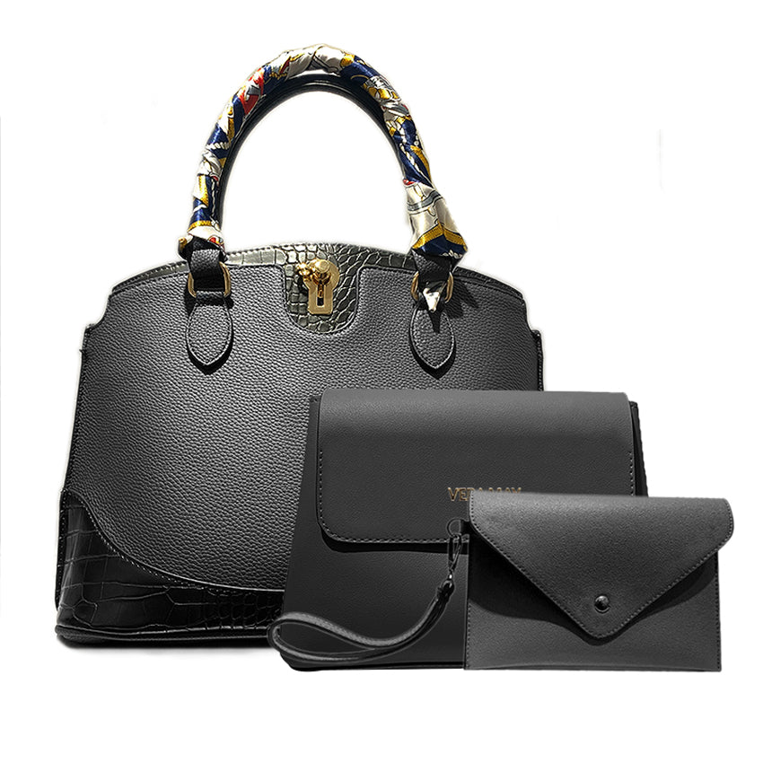 3 Pack Black Vegan Leather Handbag Set