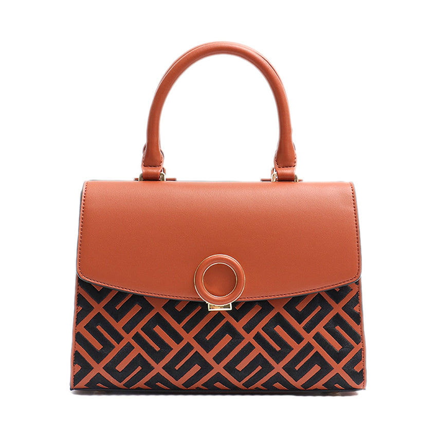Tan Vegan Leather Pattern Handbag