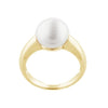 White Freshwater button pearl ring