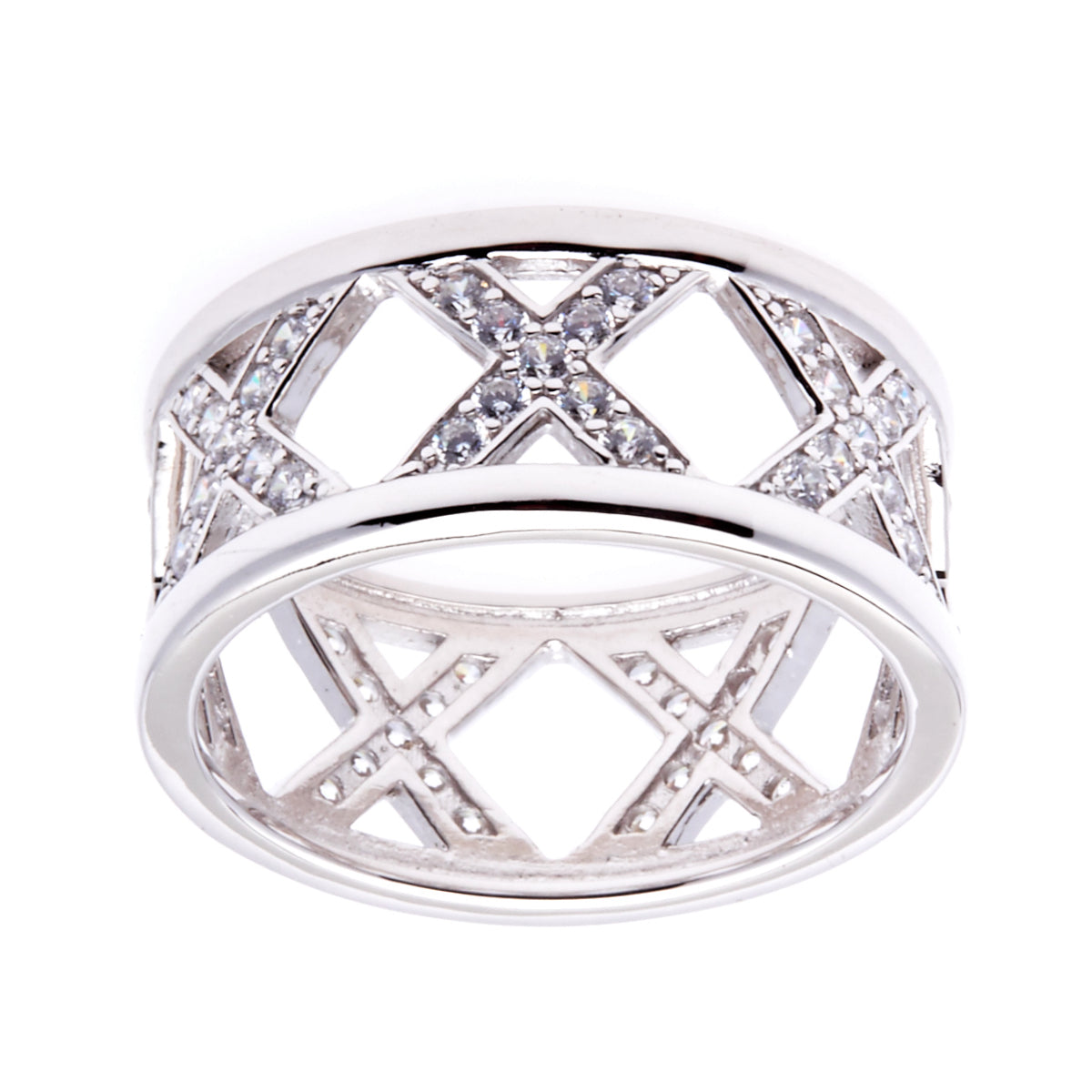 Rhodium CZ Cross Ring