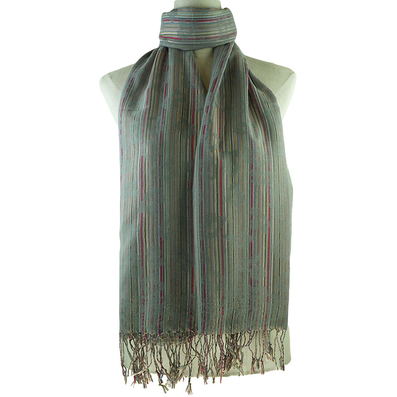 Grey Scarf with Stripe