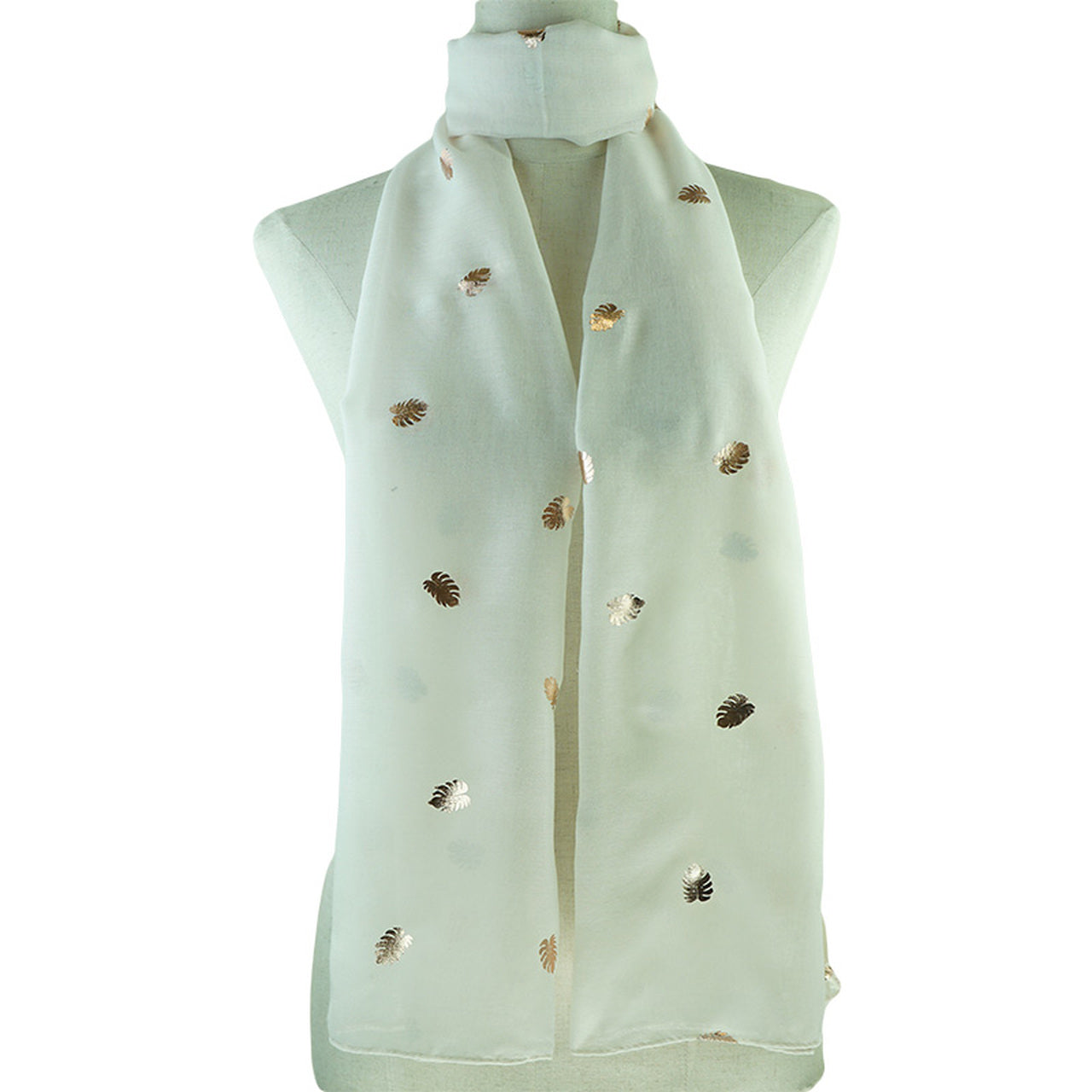 Beige Scarf with Gold Leaf Decals