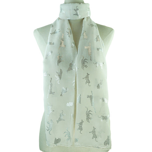 Silver Animal Decal Print Scarf