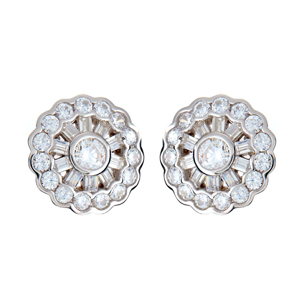 Silver & CZ Stud Earrings