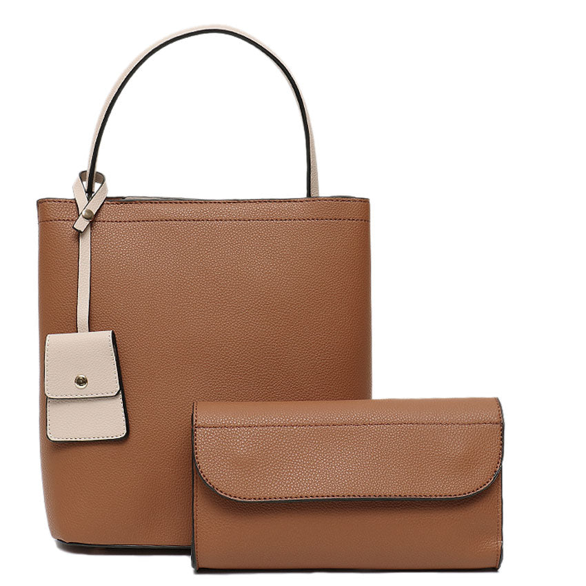 2 Pack Tan Vegan Leather Handbag set