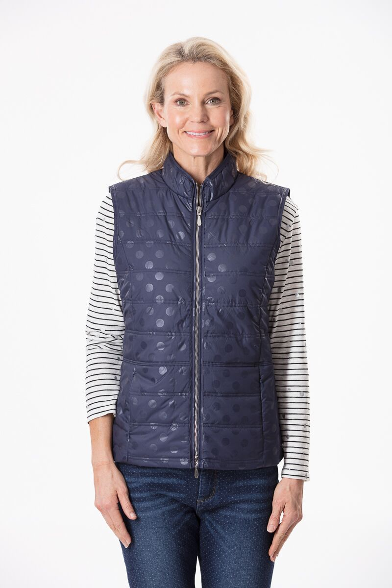 Navy Vest with Shadow Spots