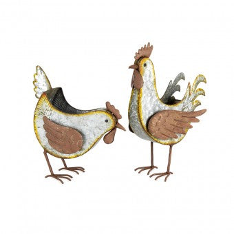 Set of 2 Galvanised Rust Chook Planter/Holder