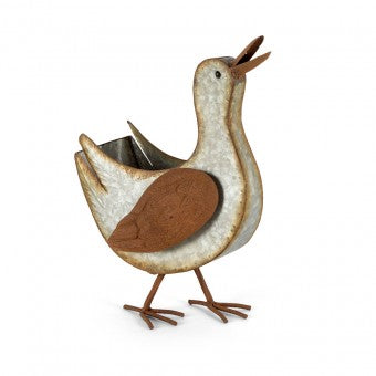 Galvanised Rust Duck Planter/Holder
