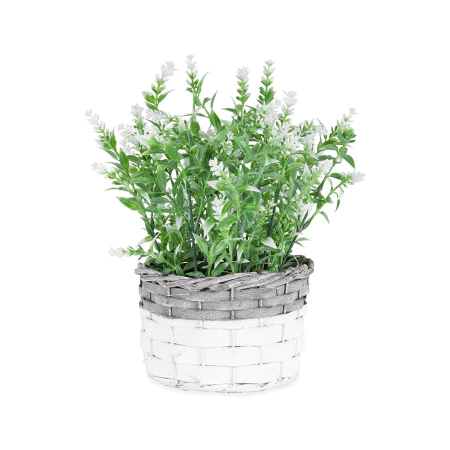Artificial White-Stem Flowers in a Basket