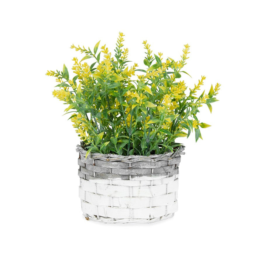 Artificial Yellow-Stem Flowers in a Basket