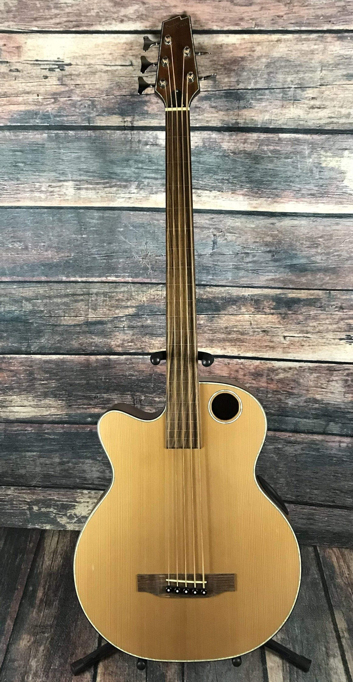 Boulder Creek Acoustic Bass Used Boulder Creek Left Handed EBR3-N5LF 5 String Fretless Acoustic Electric Bass With Case