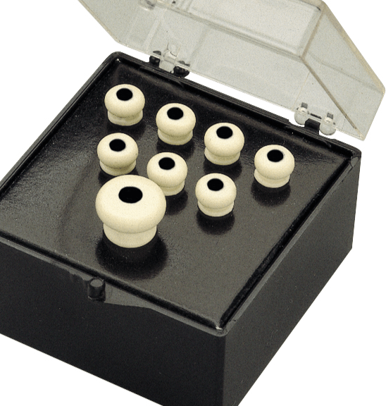 Acoustic guitar end pin in white.