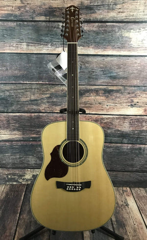 Crafter Acoustic Guitar With a Hard Shell Case Crafter Left handed D8-12EQ/N LH Acoustic Electric 12 String Guitar