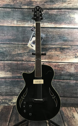 Crafter Electric Guitar Includes a Hard Shell Case Crafter Left Handed SAT Hybrid Electric/Acoustic Guitar- Trans Black