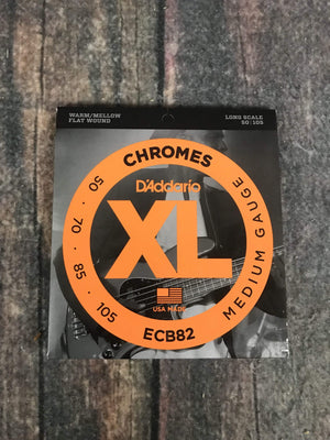 D'Addario Acoustic Guitar Strings D'Addario ECB82 Bass Chromes Flat Wound Long Scale Bass Guitar Strings