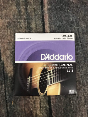 D'Addario Acoustic Guitar Strings D'Addario EJ13 80/20 Bronze Custom Light .11-.52 Gauge Acoustic Guitar Strings