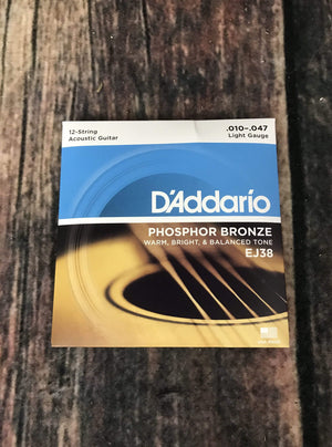 D'Addario Acoustic Guitar Strings D'Addario EJ38 Light .10-.47 Gauge 12 String Acoustic Guitar Strings