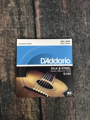 D'Addario Acoustic Guitar Strings D'Addario EJ40 Silk and Steel Folk Acoustic Guitar Strings