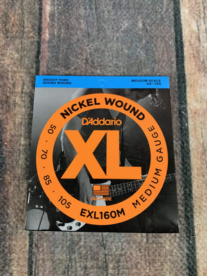 D'Addario Acoustic Guitar Strings D'Addario EXL160M Medium 50-105 Nickel Wound 4 String Medium Scale Bass Guitar Strings